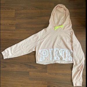 Pink Victoria's Secret Crop Hoodie